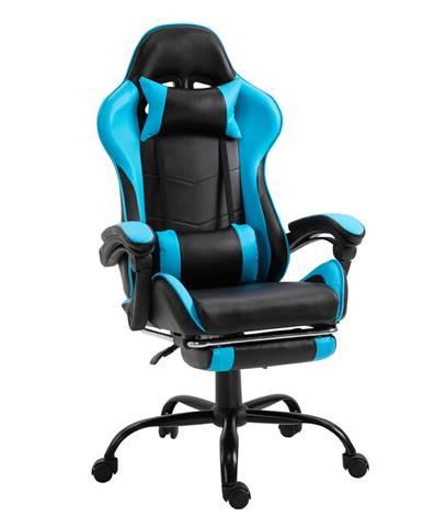 Kancelárske/herné kreslo s podnožou čierna/modrá TARUN