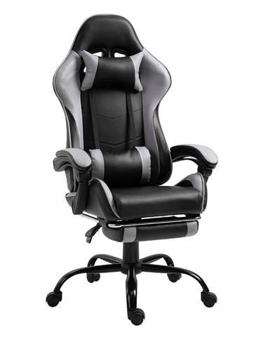 Kancelárske/herné kreslo s podnožou čierna/sivá TARUN