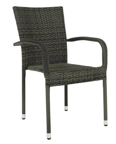 Záhradná stohovateľná stolička sivá VIPANA NEW