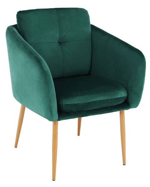 Kondela Dizajnové kreslo smaragdová Velvet látka AVETA
