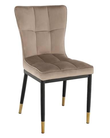 Dizajnová jedálenská stolička béžová Velvet látka EPONA