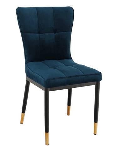 Dizajnová jedálenská stolička petrolejová Velvet látka EPONA