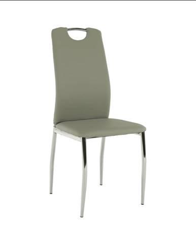 Jedálenská stolička ekokoža sivá/chróm ERVINA rozbalený tovar