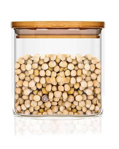 Klarstein Hranatá nádoba skladovanie potravín s bambusovým vrchnákom, vzduchotesná, so silikónovým tesnením, 10 × 10 × 10 cm, 700 ml