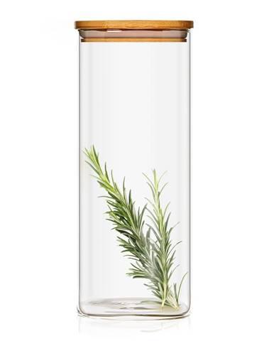 Klarstein Hranatá nádoba skladovanie potravín s bambusovým vrchnákom, vzduchotesná, so silikónovým tesnením, 10 × 20,5 × 10 cm, 1500 ml