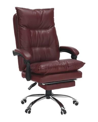 Kancelárske kreslo s podnožou ekokoža bordová DRAKE