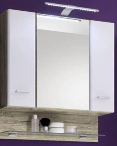 Kúpeľňová skrinka so zrkadlom Barolo, s osvětlením, dub san remo/lesklá biela%