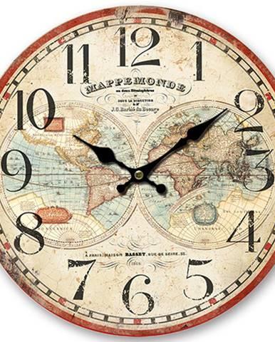 Drevené nástenné hodiny Mappemonde, pr. 34 cm
