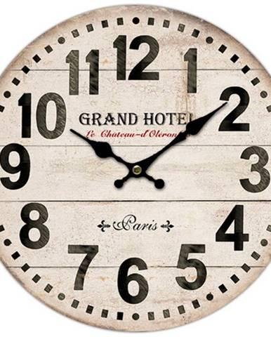 Drevené nástenné hodiny Grand hotel Paris, pr. 34 cm