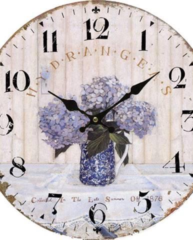 Drevené nástenné hodiny Vintage lavender, pr. 34 cm