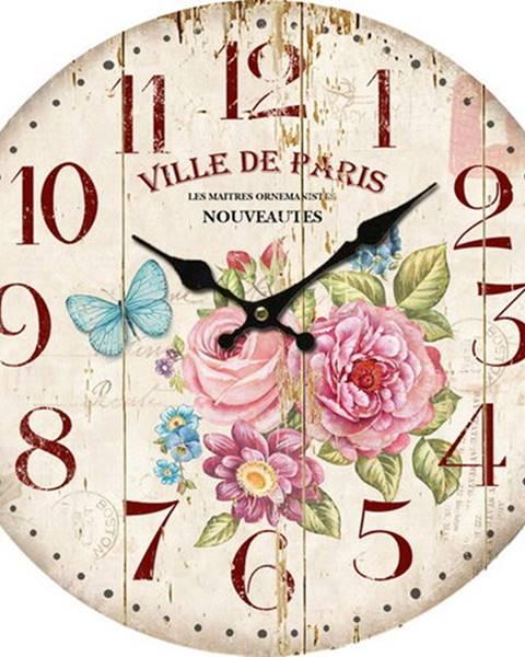 Rabalux Drevené nástenné hodiny Ville de Paris, 34 cm