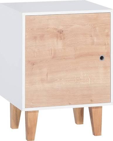 Biela skrinka s drevenými dvierkami Vox Concept
