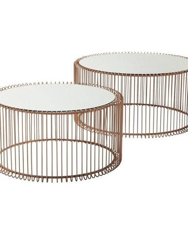 Sada 2 konferenčných stolíkov v dekore medi Kare Design Wire Big