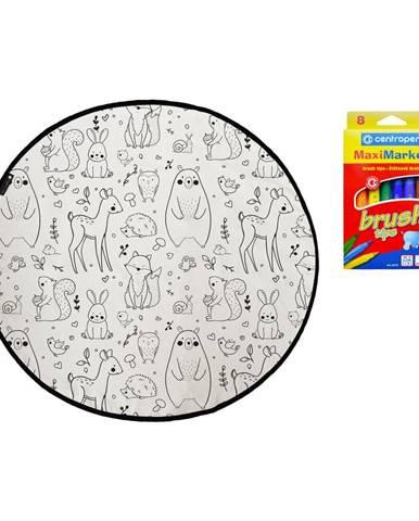 Farbiaci koberec Mr. Little Fox Field Full of Animals, ø 130 cm