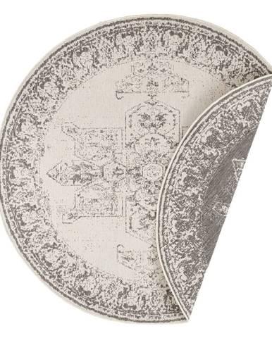Sivo-krémový vonkajší koberec Bougari Borbon, ø 140 cm