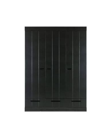 Čierna šatníková skriňa s konštrukciou z borovicového dreva WOOOD Connect, šírka 140 cm