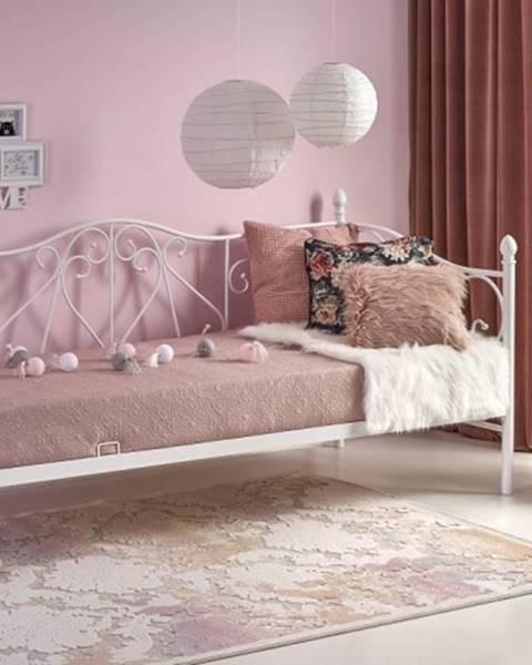 OKAY nábytok Kovová posteľ Jasmina 90x200, biela, bez matraca a ÚP