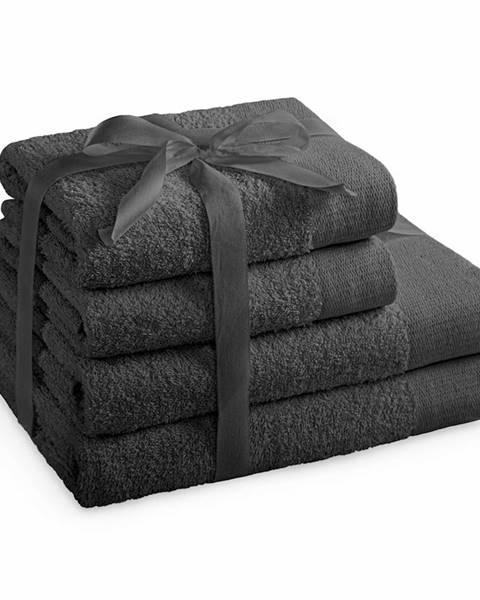 Koziol AmeliaHome Sada uterákov a osušiek Amari tmavosivá, 2 ks 50 x 100 cm, 2 ks 70 x 140 cm