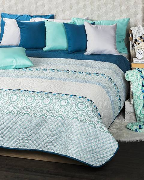 4Home 4Home Prehoz na posteľ Circles tyrkysová, 220 x 240 cm
