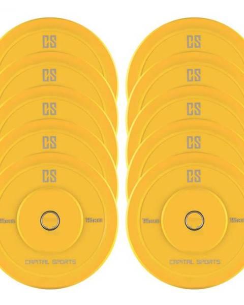 Capital Sports Capital Sports Nipton Bumper Plates, žlté, 5 párov, 15 kg, tvrdá guma