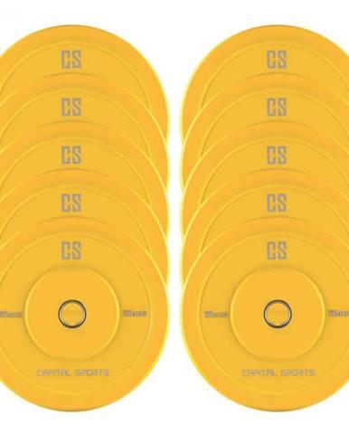 Capital Sports Nipton Bumper Plates, žlté, 5 párov, 15 kg, tvrdá guma