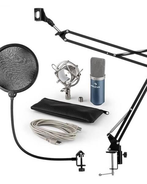 Auna Auna MIC-900BL, USB mikrofónová sada V4, modrá, kondenzátorový mikrofón, pop filter, mikrofónové rameno
