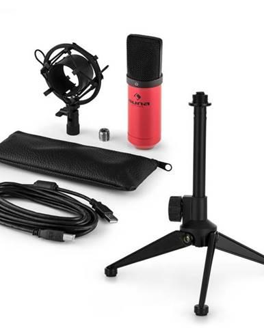 Auna MIC-900RD V1, USB mikrofónová sada, červený kondenzátorový mikrofón + stolný statív