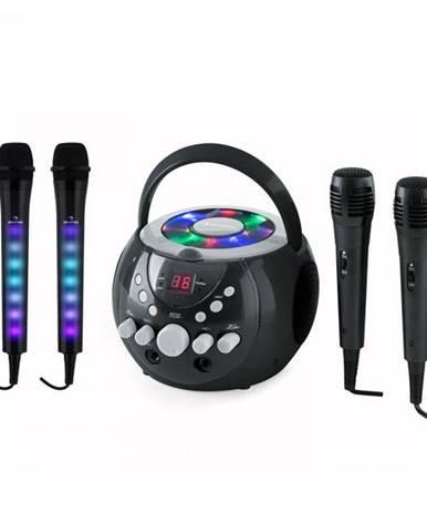 Auna SingSing čierna + Dazzl Mic Set karaoke zariadenie, mikrofón, LED osvetlenie