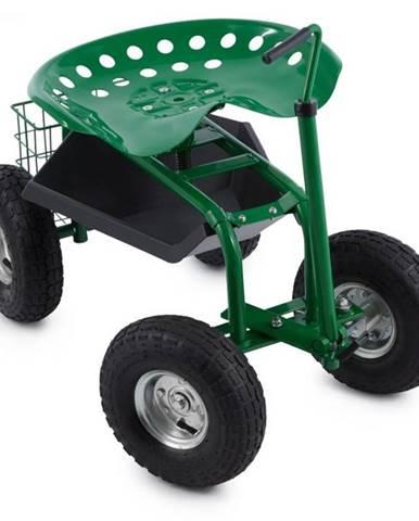 Waldbeck Park Ranger, záhradný vozík, 130 kg, pojazdný, odkladací priestor, oceľ, zelený