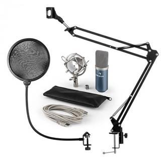 Auna MIC-900BL, USB mikrofónová sada V4, modrá, kondenzátorový mikrofón, pop filter, mikrofónové rameno