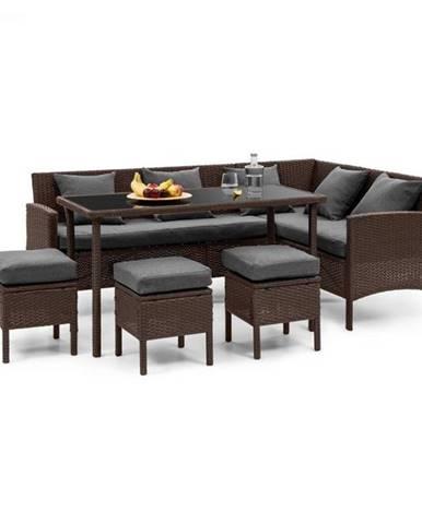 Blumfeldt Titania Dining Lounge Set, záhradná sedacia súprava, hnedá/tmavosivá