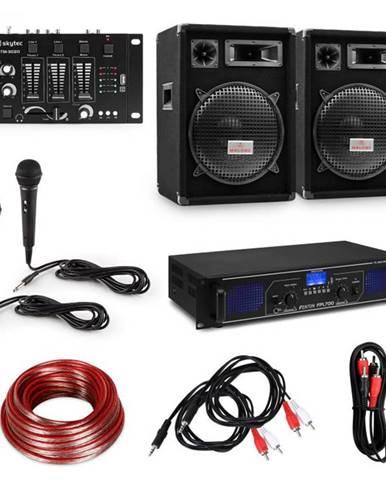 """Electronic-Star HiFi DJ PA párty sada, zosilňovač, 2 x 12"""" reproduktor, mixážny pult, 2 mikrofóny"""