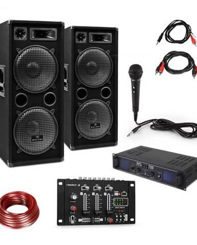 Skytec SPL700EQ, sada so zosilňovačom, 2 reproduktormi, mixážnym pultom a mikrofónom