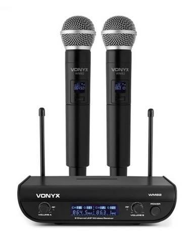 Vonyx WM82 Digital, 2-kanálový systém UHF bezdrôtových mikrofónov, 2 x ručný mikrofón, 50 m, čierny