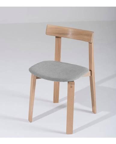 Jedálenská stolička z masívneho dubového dreva so sivým sedadlom Gazzda Nora