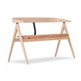 Lavica z dubového dreva s koženým sedadlom Gazzda Ava