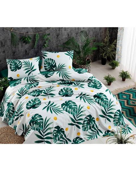 Bonami Set bavlneného plédu cez posteľ, plachta a 2 obliečky na vankúš Monstera Green, 200 x 235 cm