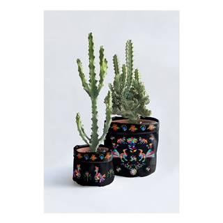 Súprava 2 textilných obalov na kvetináč Madre Selva Animals Otomi Negro