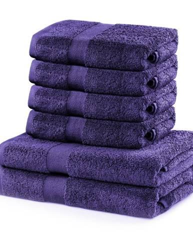 Set 2 bavlnených fialových osušiek a 4 uterákov DecoKing Marina