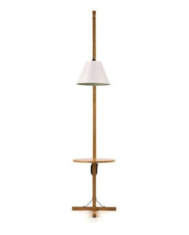 Biela stojacia lampa s drevenou konštrukciou Woodman Floor