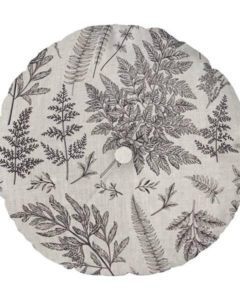 Linen Couture Sivý vankúš Linen Couture Cojin Redondo Grey Leaf, ⌀ 45 cm