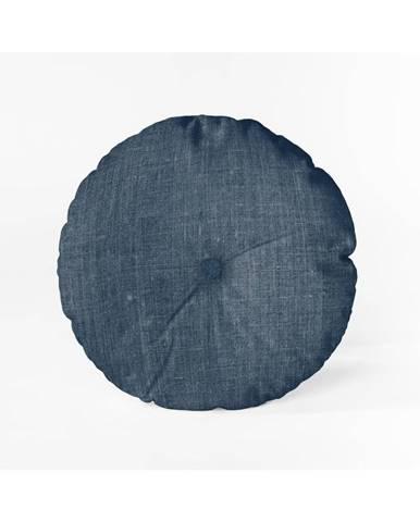 Modrý vankúš Linen Couture Cojin Redondo Blue, ⌀ 45 cm