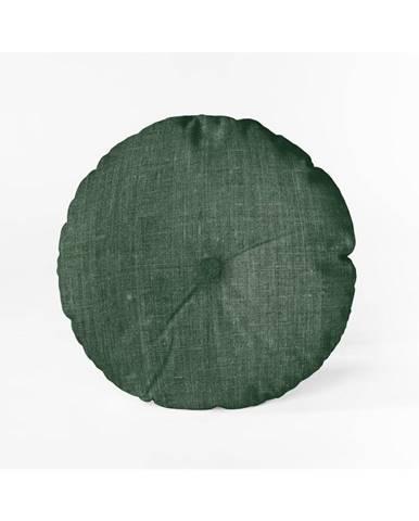 Tmavozelený vankúš Linen Couture Cojin Redondo Dark Green, ⌀ 45 cm