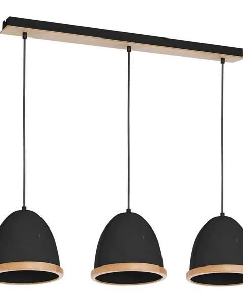 Homemania Čierne závesné svietidlo s drevenými detailmi Studio Tres