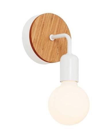 Biele nástenné svietidlo s dreveným detailom Valetta