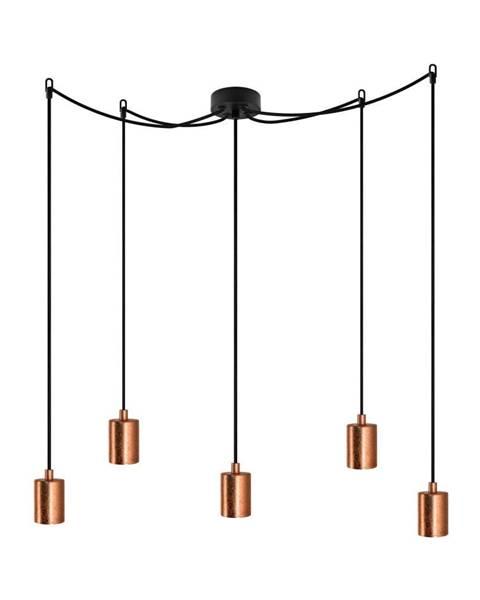 Bulb Attack Čierne závesné svietidlo s 5 káblami a objímkami v medenej farbe Bulb Attack Cero