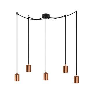 Čierne závesné svietidlo s 5 káblami a objímkami v medenej farbe Bulb Attack Cero