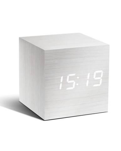 Biely budík s bielym LED displejom Gingko Cube Click Clock