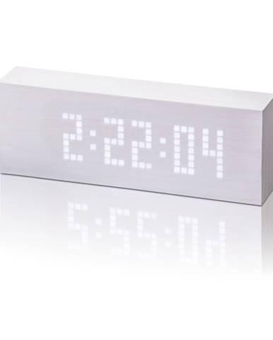 Biely budík s bielym LED displejom Gingko Message Click Clock