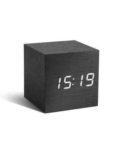 Čierny budík s bielym LED displejom Gingko Cube Click Clock